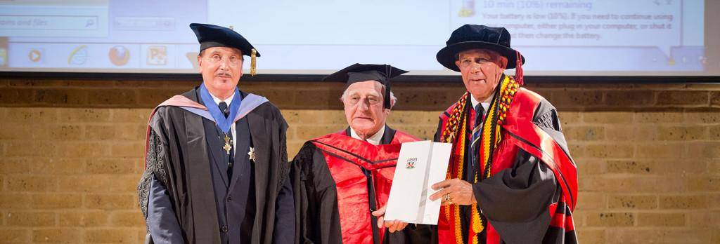 Dr Raymond Morland with his protegé, Robert Isaacs