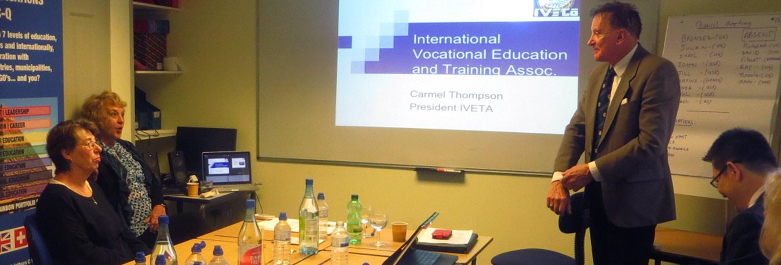 Dr Brenden Tempest-Mogg, Ms Carmel Thompson and Dr Jill Kiefer at an IVETA presentation