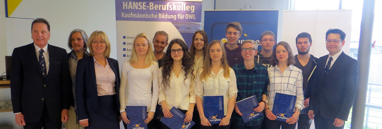 Posing with the Warnborough interns at Hanse Berufskolleg