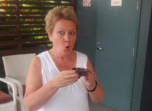 IVETA past President, Olga Oleynikova, tries out the local drink, kava