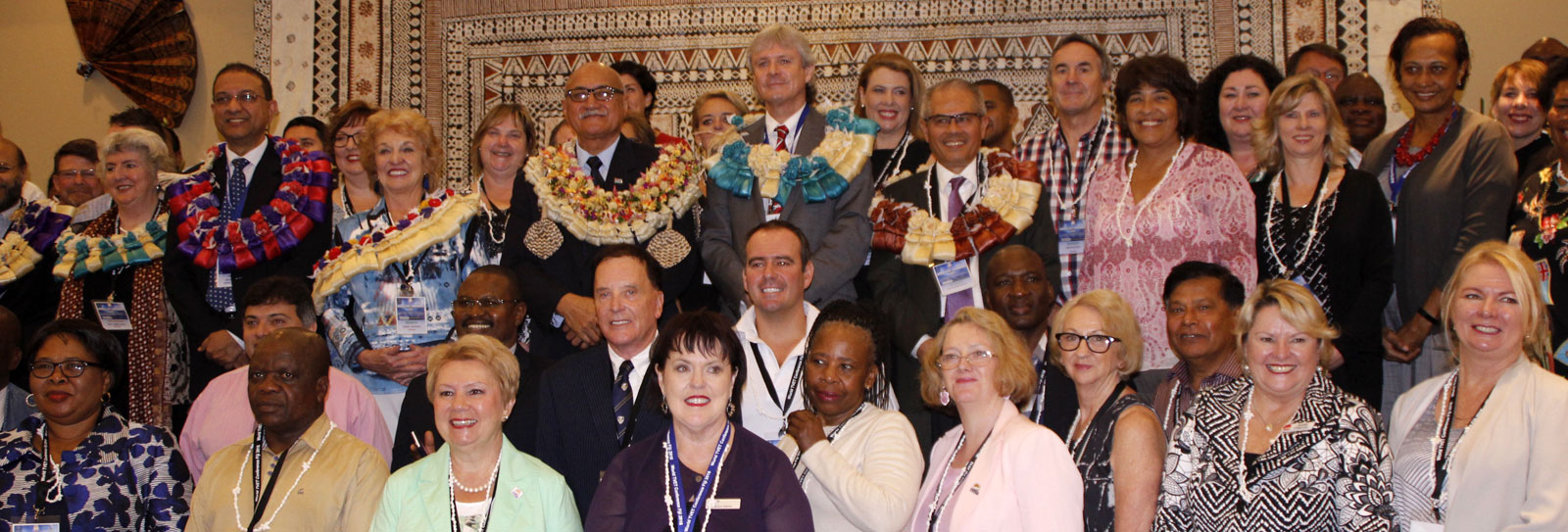 Key delegates pose with George Konrote, the President of Fiji (centre)