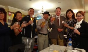 Dr Brenden Tempest-Mogg toasts some of the Chinese