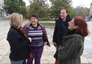 Amanda White, Rumyana Shalamanova, Dr Brenden Tempest-Mogg, Dr Souha Akiki share a laugh in Plovdiv