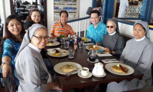 Breakfast with Sr Vickky, Monique, Dr Rochi, Dr Manny, Sr Helen, and Sr Belinda