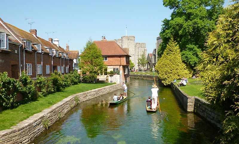 Punting on the Stour River in Canterbury