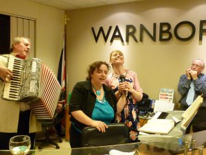 Entertainment during the launch of Warnborough Publishing