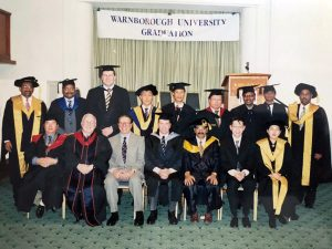 The very first batch of Warnborough University graduates at the Royal Overseas League